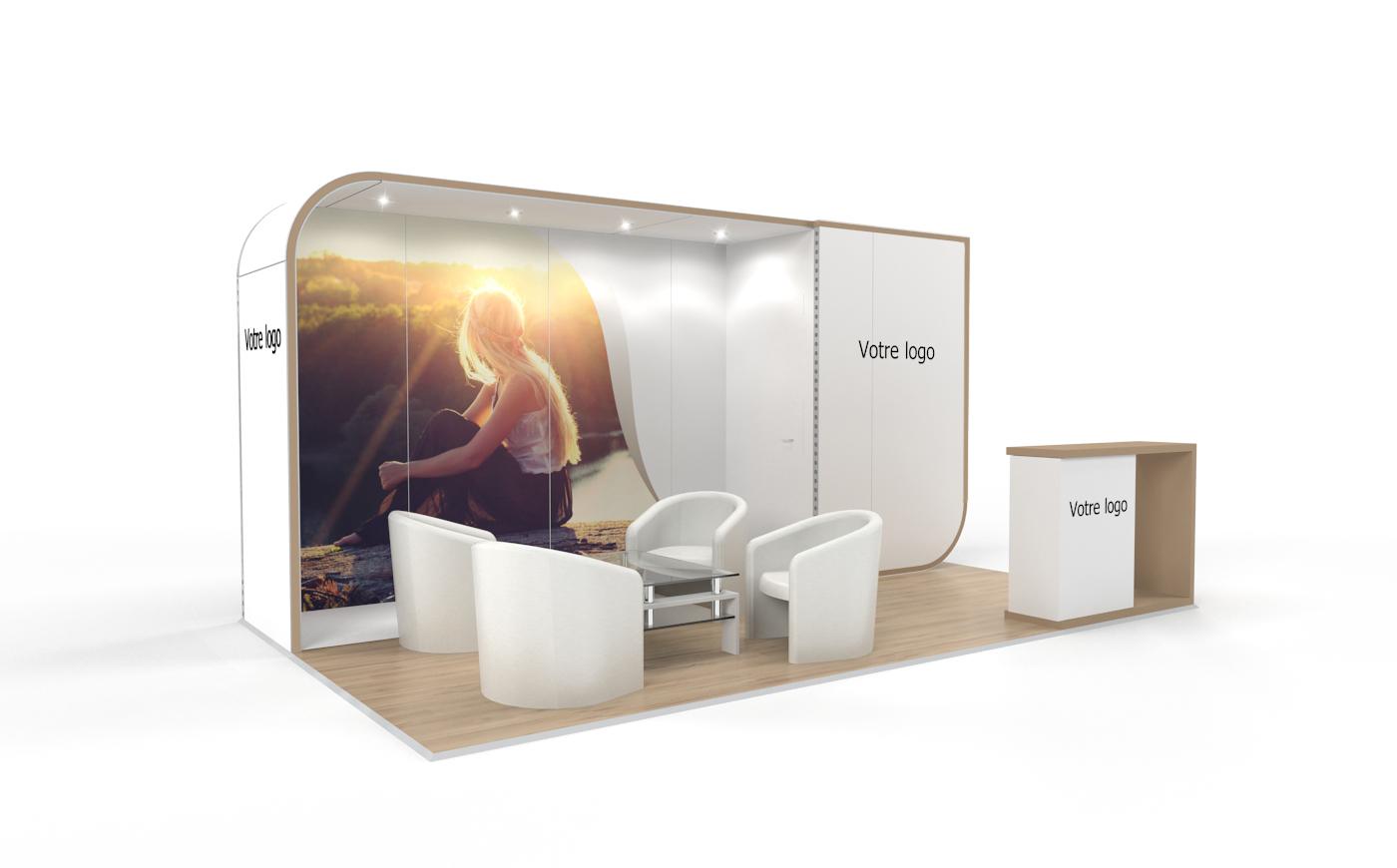 Louez un stand d'exposition personnalisable de 15m2. Stand d'exposition NewAge de 15m2