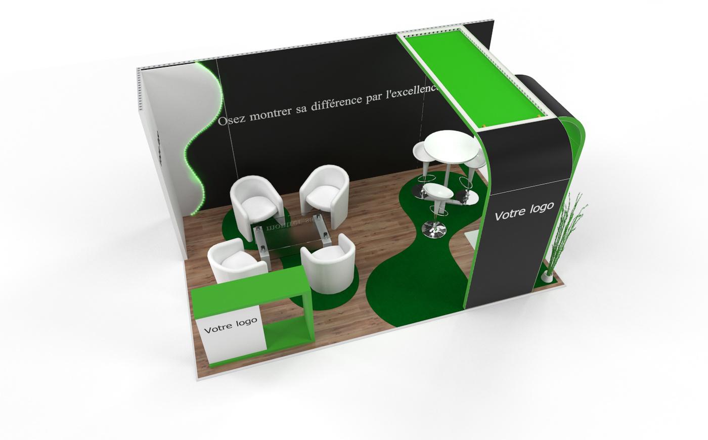 Louez un stand d'exposition personnalisable de 15m2. Stand d'exposition Wave de 15m2