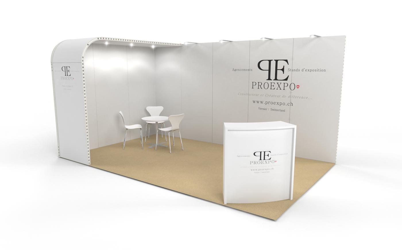 Louez un stand d'exposition de 15m2. Le stand d'expo Soft de 15m2.