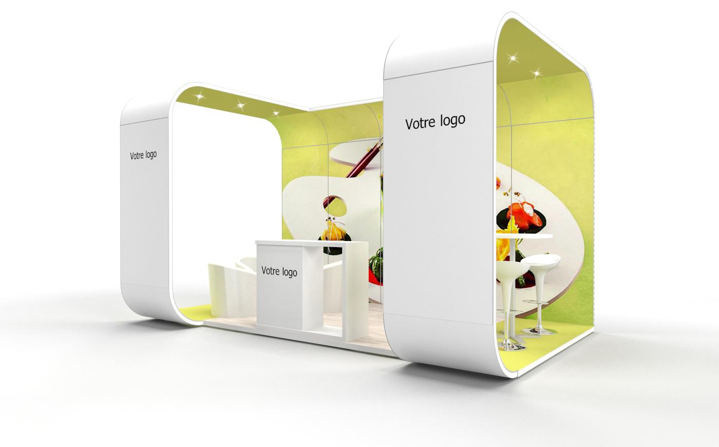 Louez un stand d'exposition personnalisable de 15m2. Stand d'exposition Bubble de 15m2