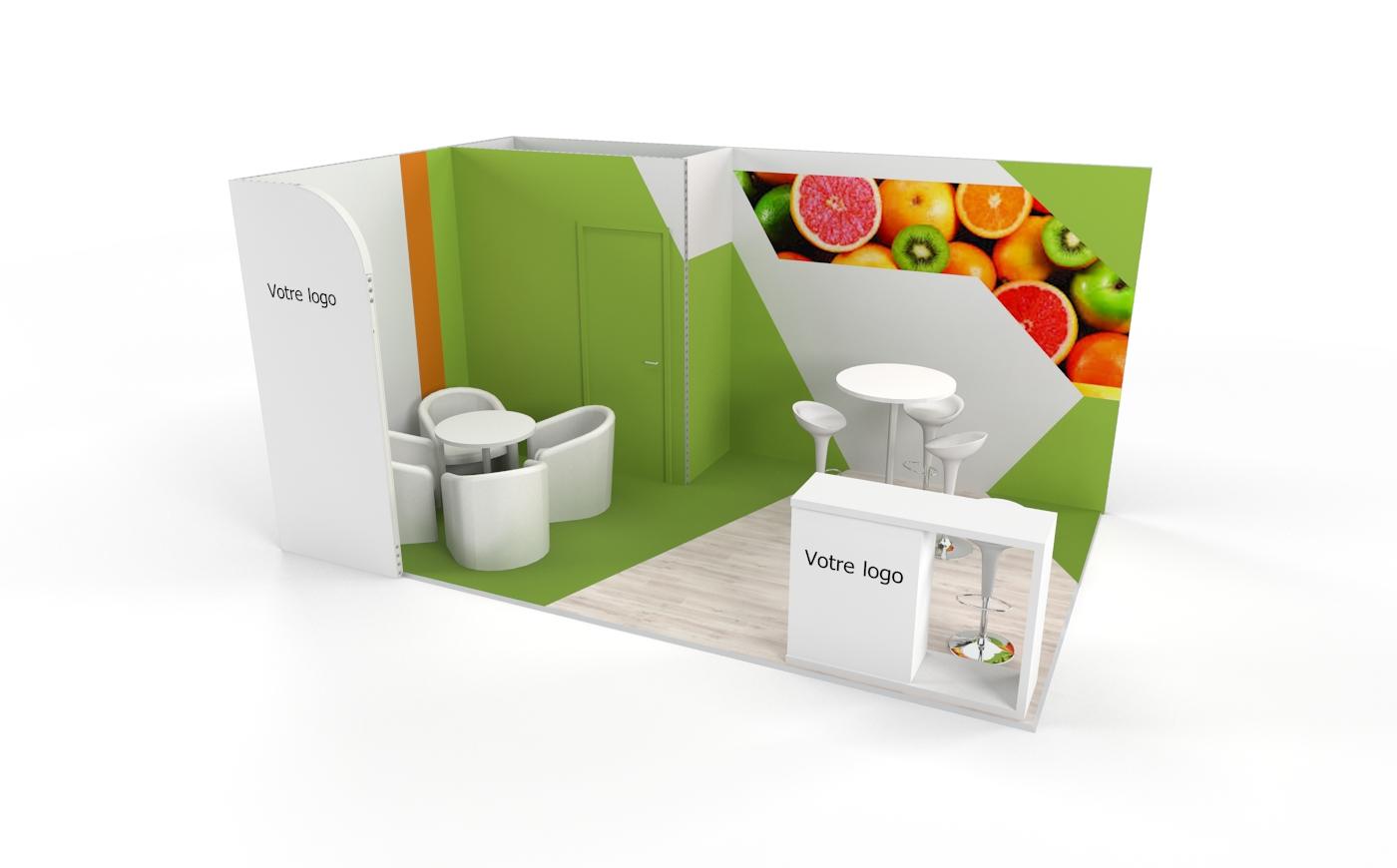 Louez un stand d'exposition personnalisable de 15m2. Stand d'exposition Lemon de 15m2
