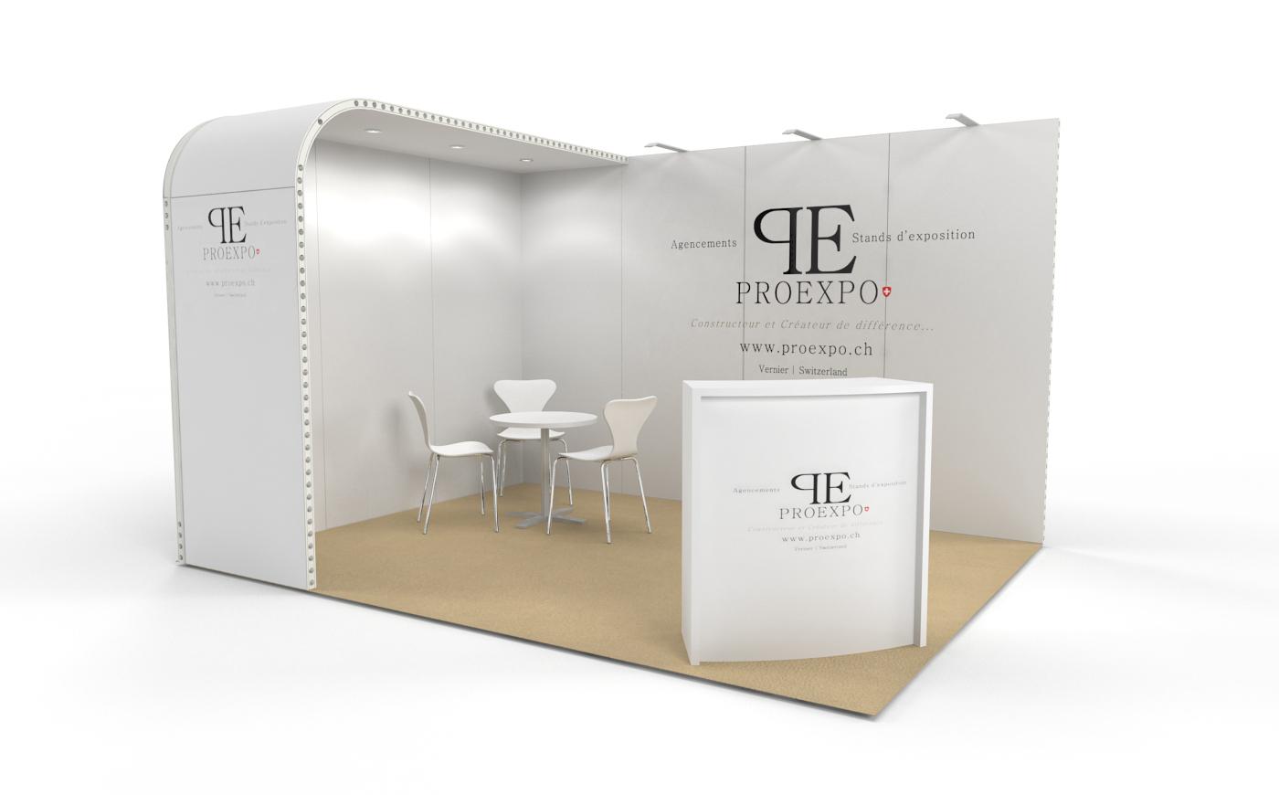 Louez un stand d'exposition de 12m2. Le stand d'expo Soft de 12m2.