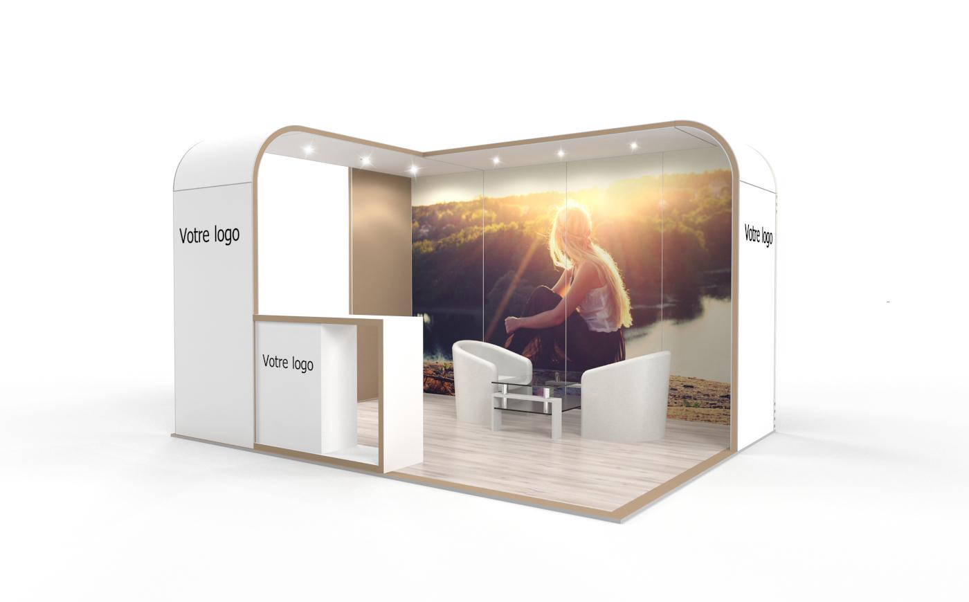 Louez un stand d'exposition de 12m2. Le stand d'expo Cocoon de 12m2.