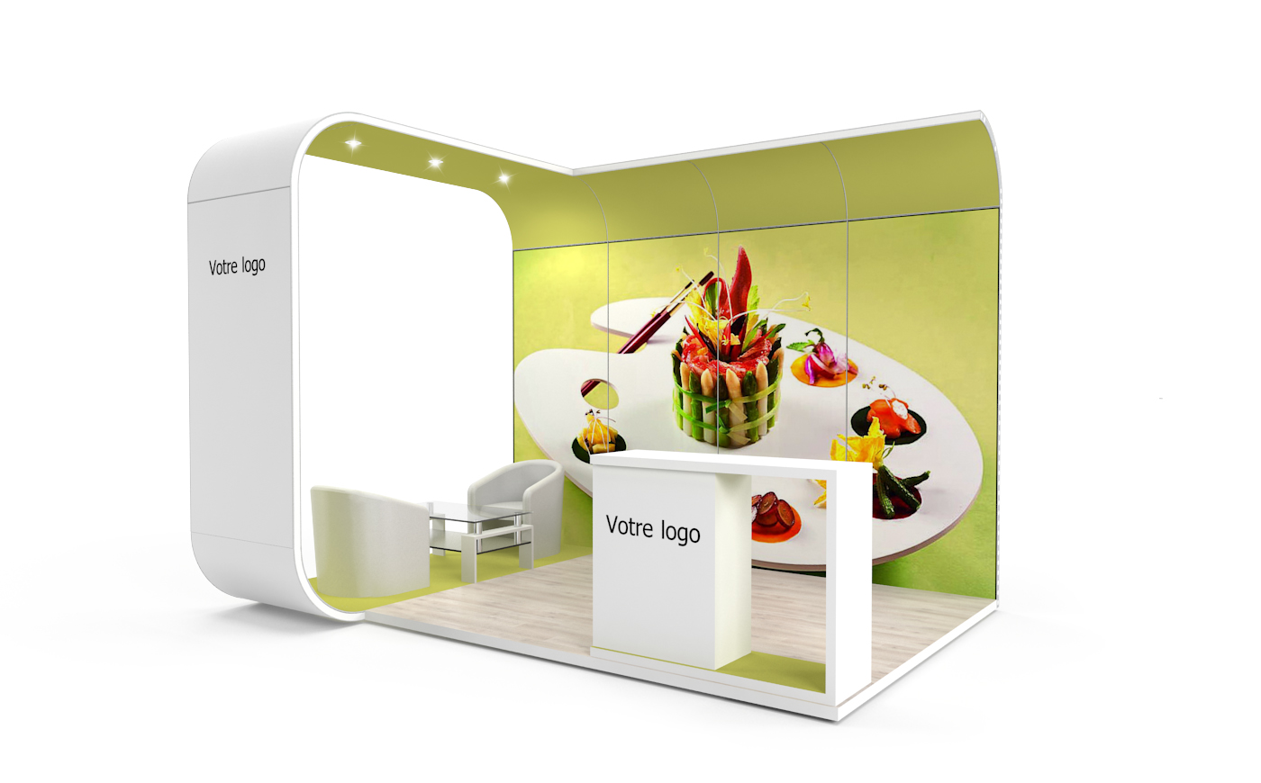 Louez un stand d'exposition de 12m2. Le stand d'expo Bubble de 12m2.