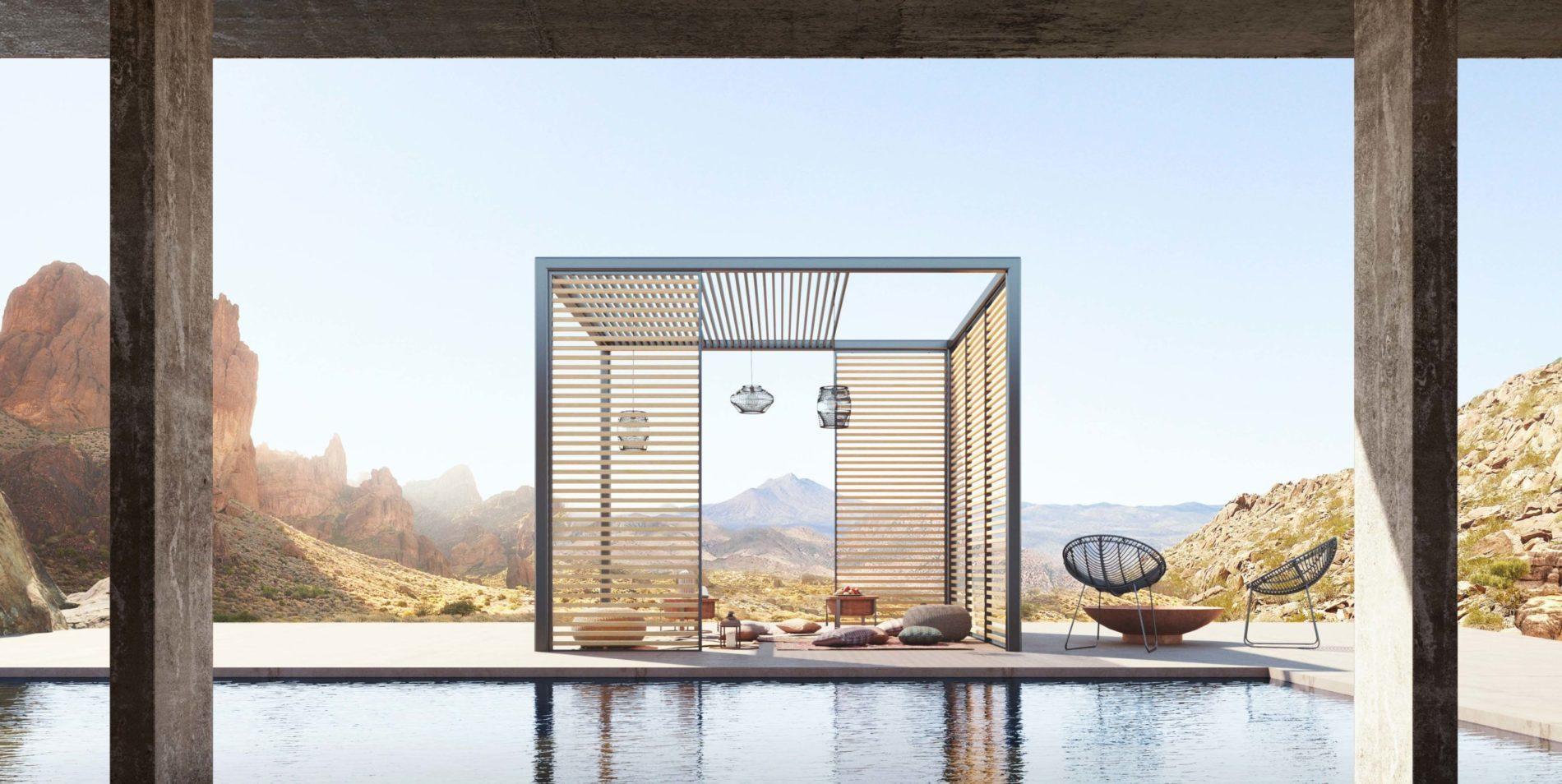 Pergola aluminium avec led, plancher et plafond coulissant.
