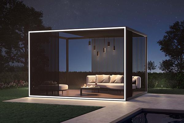 Pergola aluminium avec plancher et LED intégrées